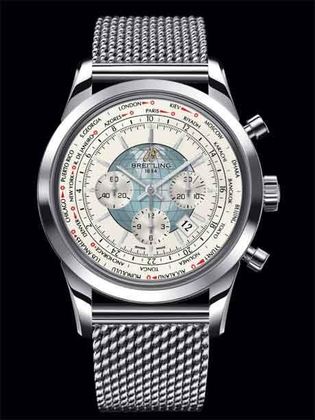 Breitling Transocean Chrono Unitime white dial/bracelet
