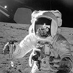Alan Bean wears Omega Speedmaster on moon