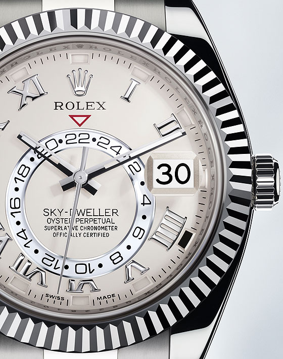 Rolex Sky-Dweller white gold dial detail