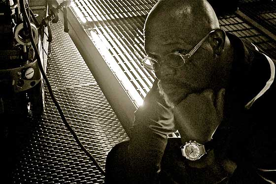 Samuel L. Jackson wearing Piaget on Avengers set (B&W)