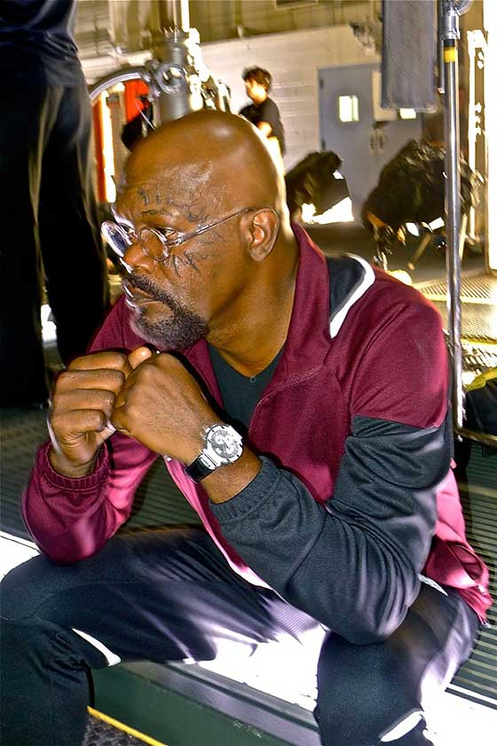 Samuel L. Jackson wears Piaget on Avengers set