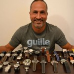 "Guille Parrilla from San Juan, Puerto Rico shows off his ""babies."" Among his collection are an Anonimo, Franck Muller, U-boat, Omega, Tutima, Stowa, Azimuth, Meistersinger, Certina, Bell & Ross, Oris, and a Fortis. Two each from Panerai, Rolex, Ulysse Nardin, Cartier, and Zeno-Watch. And finally, 3 Breitlings."