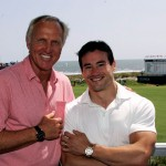 R.J. Kamatovic and Greg Norman show off their watches at The PGA championship at Kiawah Island SC. Greg has the Speedmaster co-axial Chronograph in Red Gold,  R.J. is wearing an Omega DeVille HourVision Red Gold on Bracelet and Greg is wearing an Omega Speedmaster co-axial Chronograph in Red Gold.