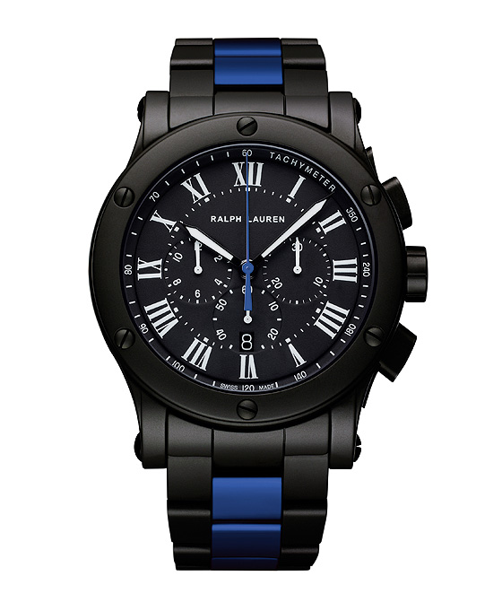 Ralph Lauren Black Ceramic Sporting Blue Stripe