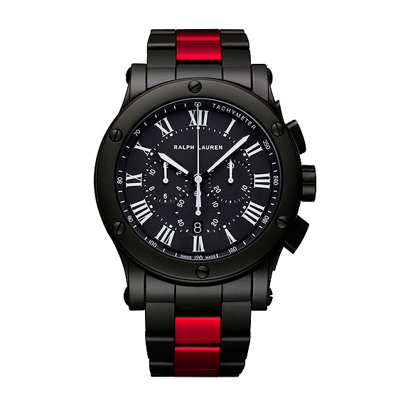 Ralph Lauren Black Ceramic Sporting Red Stripe