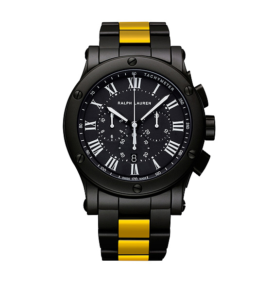 Ralph Lauren Black Ceramic Sporting Yellow Stripe