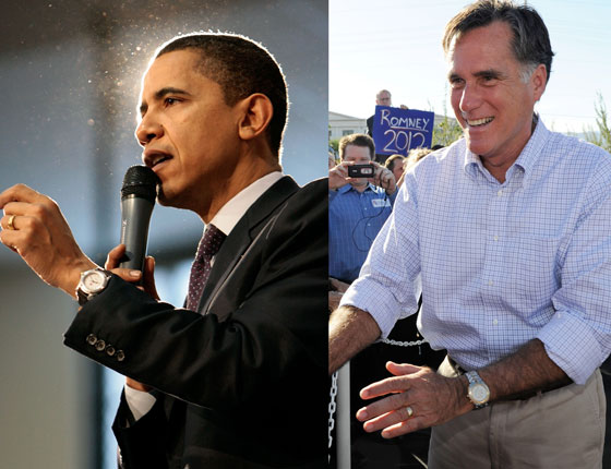 Left: Barack Obama wearing a vintage TAG Heuer Aquaracer; Right: Mitt Romney wearing a Link chronograph