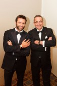 Hugh Jackman, wearing a Vintage 1945, and Steven Rom, CEO of Avstev, distributor of Girard-Perregaux for Australasia.