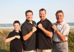 From right to left, Horst Schmittenberg, with his sons Marc and Oliver, and his grandson Elliott, celebrates a family vacation in Hilton Head Island, SC, as well as his 78th birthday and 50th wedding anniversary. Horst wears his IWC Ingenieur, Marc sports his two-tone Rolex Submariner with black dial, Oliver in his RGM Model 300 Professional Diver with white MOP dial, and Elliott is wearing his Invicta Specialty Reserve with a black MOP dial.