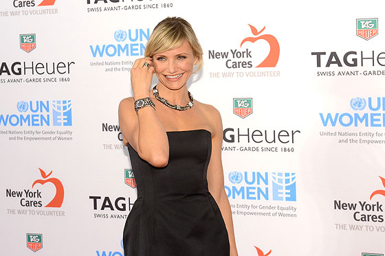 Cameron Diaz wearing TAG Heuer Link Lady Trilogy