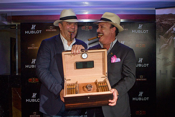 Ricardo Guadalupe and Carlito Fuente with Hublot watch