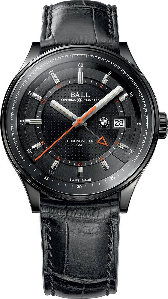 Ball for BMW GMT black dial leather strap