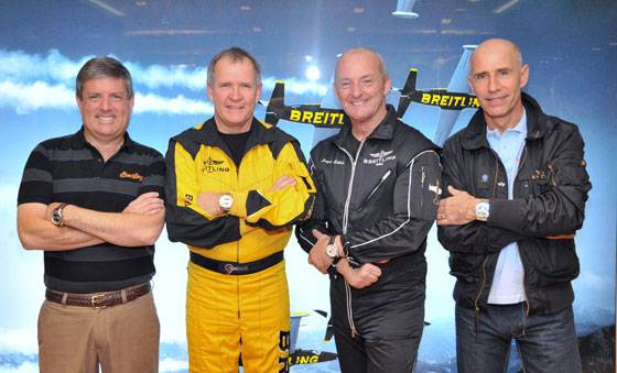 Breitling USA Aerobatic Pilot David Martin, Breitling Aviator for Breitling Angels Nigel Lamb, Breitling Jet Team Number 1 Jacques Bothelin, Yves Jetman Rossy