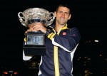 Audemars Piguet ambassador Novak Djokovic celebrates his victory.