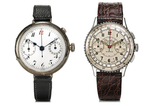Left: A wristwatch chronograph from 1915. Right: An early Chronomat with a counter for 45 elapsed minutes, circa 1942.