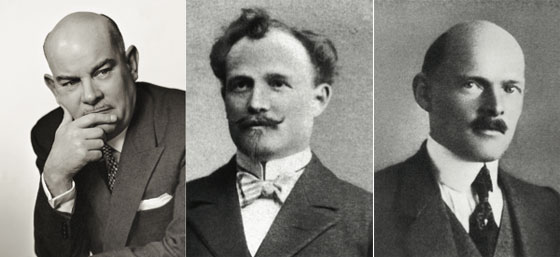 Left to right: Willy Breitling (1913-1979), who took over Breitling in 1932 and sold it to Ernest Schneider in 1979; the company's founder, Léon Breitling (1860-1914); Léon's son and successor Gaston Breitling (1884-1927)