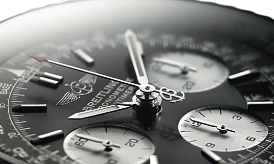 The Navitimer's dial has scales used by pilots for navigation.