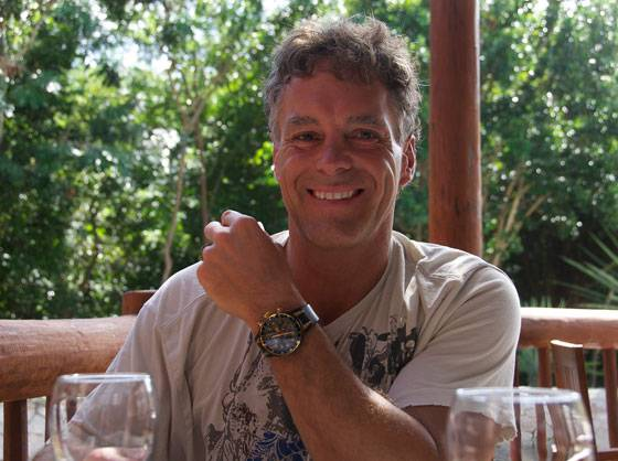 Jean Simard wears his Oris TT3 Chronograph, Second Time Zone(Rose Gold) PVD while on vacation in Riviera Maya, Mexico.