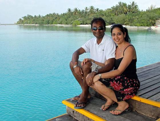 Dr. Hersad and Sonia Vaghela celebrate their 10th anniversary at Hudhuran Fushi Island, Maldives.