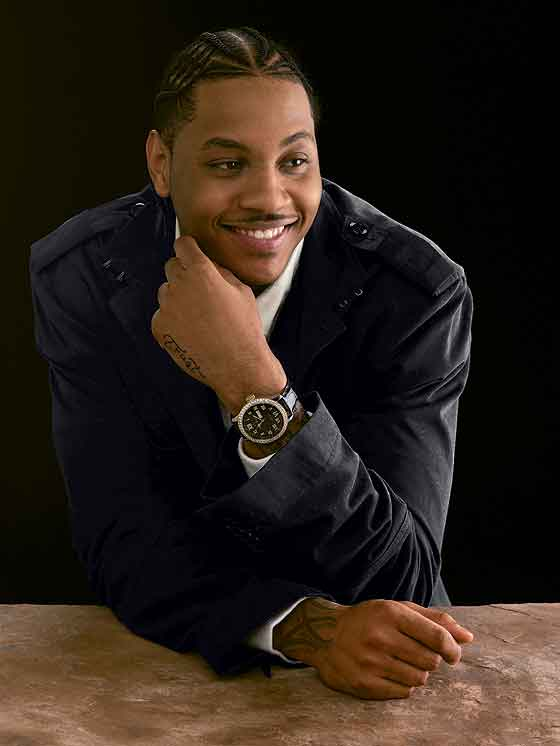 Carmelo Anthony in suit/watch