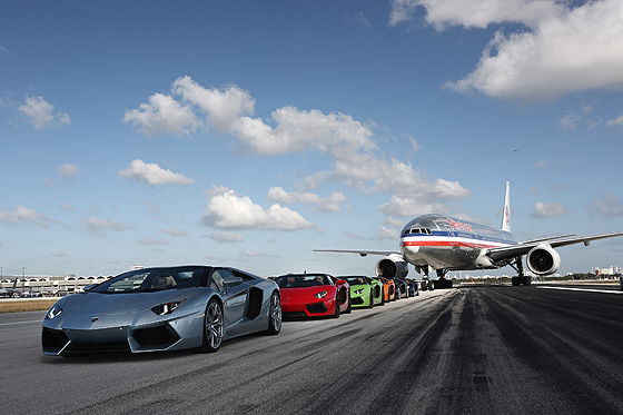 Lamborghini Aventador Roadsters on MIA's runway