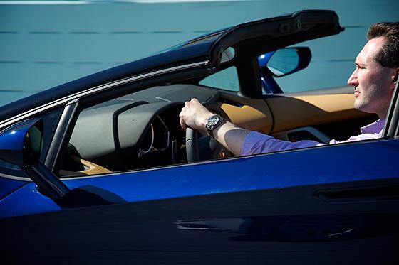 WatchTime editor Mark Bernardo in Lamborghini Aventador Roadster