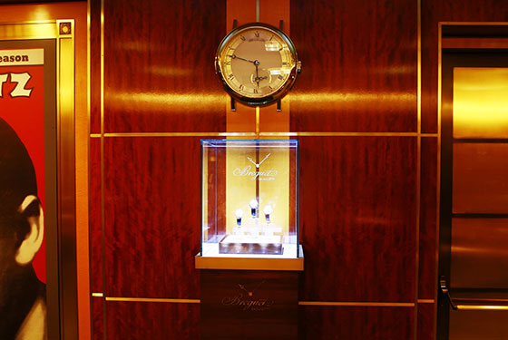 One of four new Breguet Classique clocks on display at Carnegie Hall.