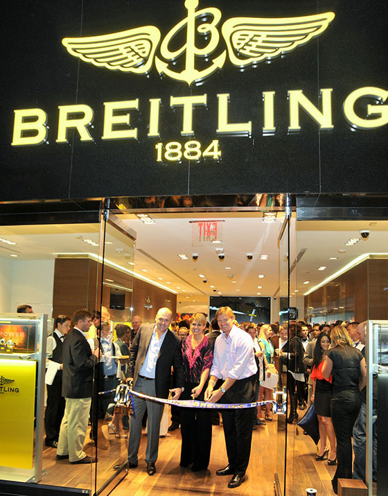 Breitling USA President Thierry Prissert, Liezl and Ernie Els at Breitling Boutique Las Vegas Grand Opening Celebration