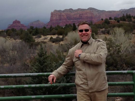 James Havens, during a visit to Sedona Arizona this January, wearing the new Astron GPS Solar by Seiko, model SAST003.