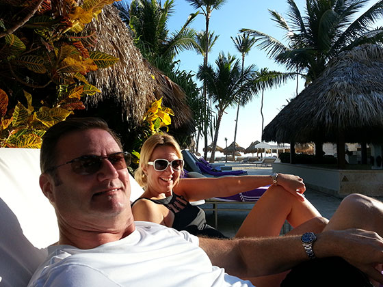 Jon and Sini Ross, wear their Rolexes while at a resort in Punta Cana, Dominican Republic. Sini is wearing her Rolex Ladies Yachtmaster while Jon is wearing his Rolex Submariner.