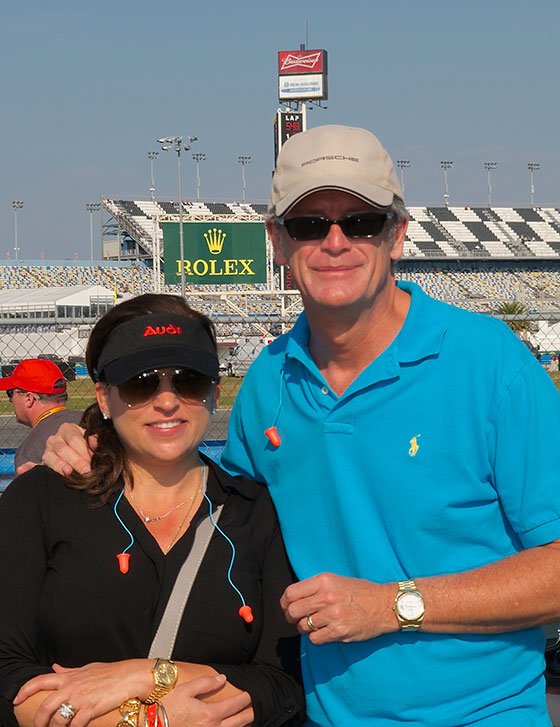 Michael and Mindy Tribolet wear their Rolexes at the Rolex 24 Hours at Daytona race in Florida. Michael is wearing a Rolex Day-Date II reference 218238, while Mindy is wearing a Rolex Day-Date reference 1803.