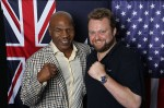Harvey Wellman wears a Rolex Submariner 2-Tone Blue Dial while posing for a picture with Mike Tyson at the Day Of The Champions event in Sydney, Australia.