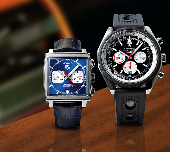 TAG Heuer Monaco-Breitling Chrono-Matic watches