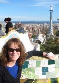 Donna Schmick wears her Tissot 1853 PRC 100 while visting Park Guell in Barcelona with her daughter.