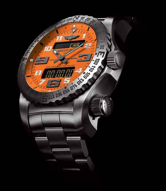 Breitling Emergency II Intrepid Orange dial - side