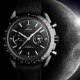 Omega Speedmaster Moonwatch in black ceramic with moon bkgd