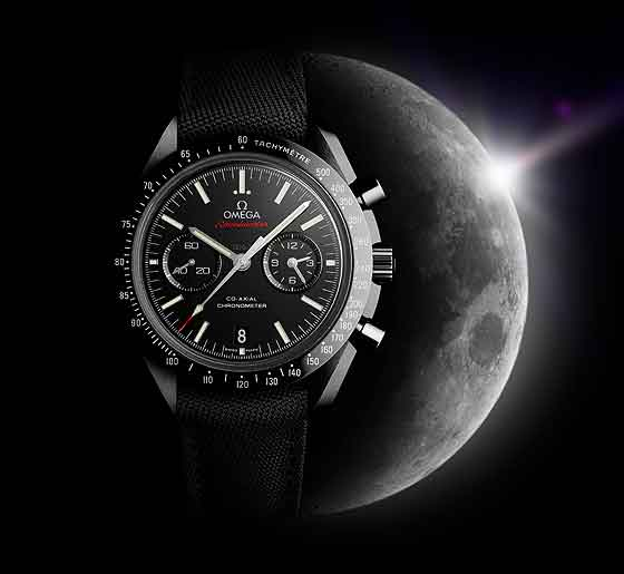 Omega Speedmaster Moonwatch black ceramic w/ moon background