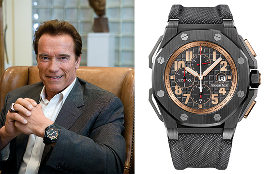 Arnold Schwarzenegger wearing the Audemars Piguet Royal Oak Offshore Arnold Schwarzenegger The Legacy Chronograph