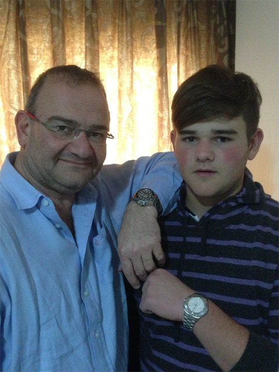 Stephen Danziger and his son Evan Danziger spending quality time together. Stephen is wearing his Rolex Deepsea and Evan is wearing his Tag Heuer Aquaracer Chrono.