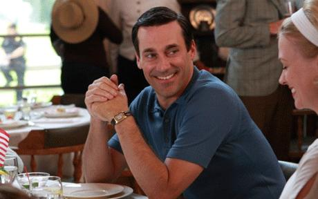 Don Draper wearing a Jaeger-LeCoultre Reverso