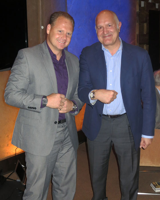 Nik Wallenda (left) and  Michele Sofisti, CEO of Sowind (Girard- Perregaux and Jeanrichard) wearing Jeanrichard Terrascope watches.