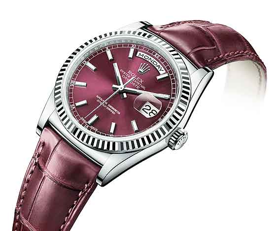 Rolex replica Day-Date- white gold/cherry dial
