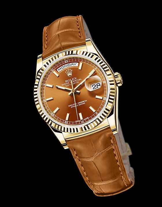 Rolex replica Day-Date- yellow gold/Cognac dial
