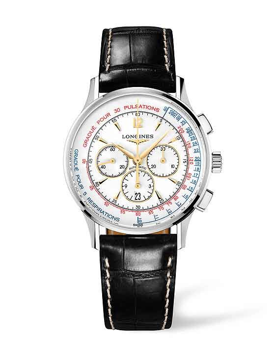 Longines Asthmometer Pulsometer Chronograph - front