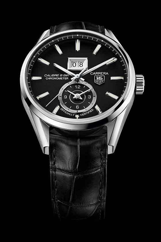 39ccc10f4a08 TAG Heuer Carrera Calibre 8 Grande Date GMT - black dial strap ...