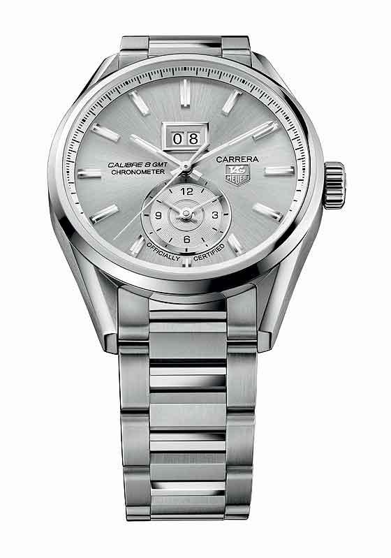 TAG Heuer Carrera Calibre 8 Grande Date GMT - silver dial/bracelet