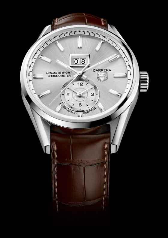 TAG Heuer Carrera Calibre 8 Grande Date GMT - silver dial/strap