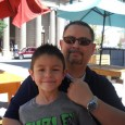 Fernando Heredia, wearing his Omega Seamaster Chronograph, with his nephew Daniel Morales at the Plaza Classic Film Festival in El Paso, TX.