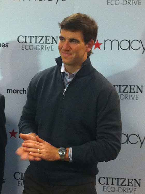 Eli Manning wearing Citizen Limited Edition Perpetual Chrono A.T