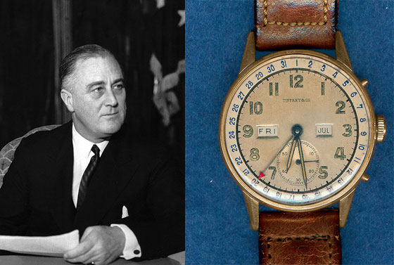 Franklin Delano Roosevelt and his Tiffany watch with Movado movement